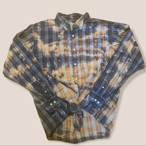 Distressed BLEACHED REDONE flannel button top XXL